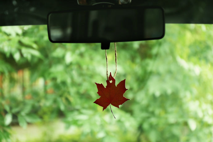 Air freshener hanging in the car