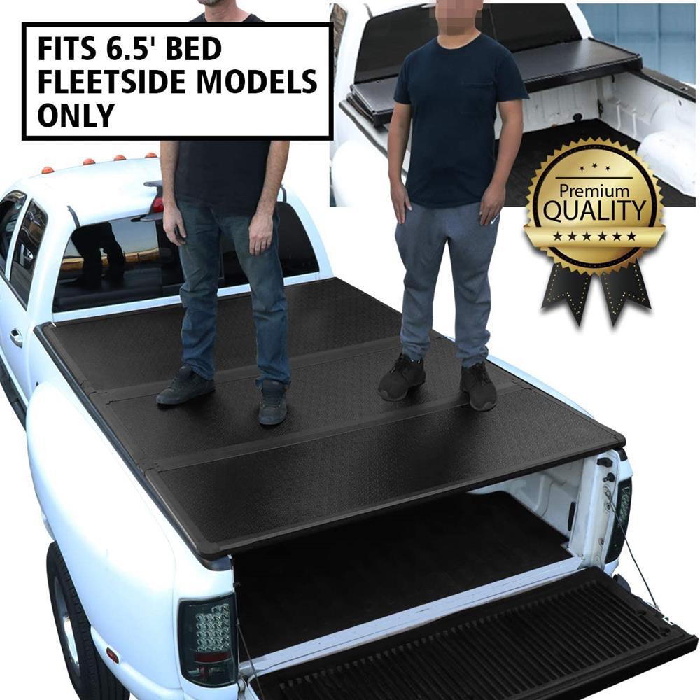 DNA Motoring TTC-HARD-038 Truck Bed Top Hard Solid Tri-Fold Tonneau Cover Compatible