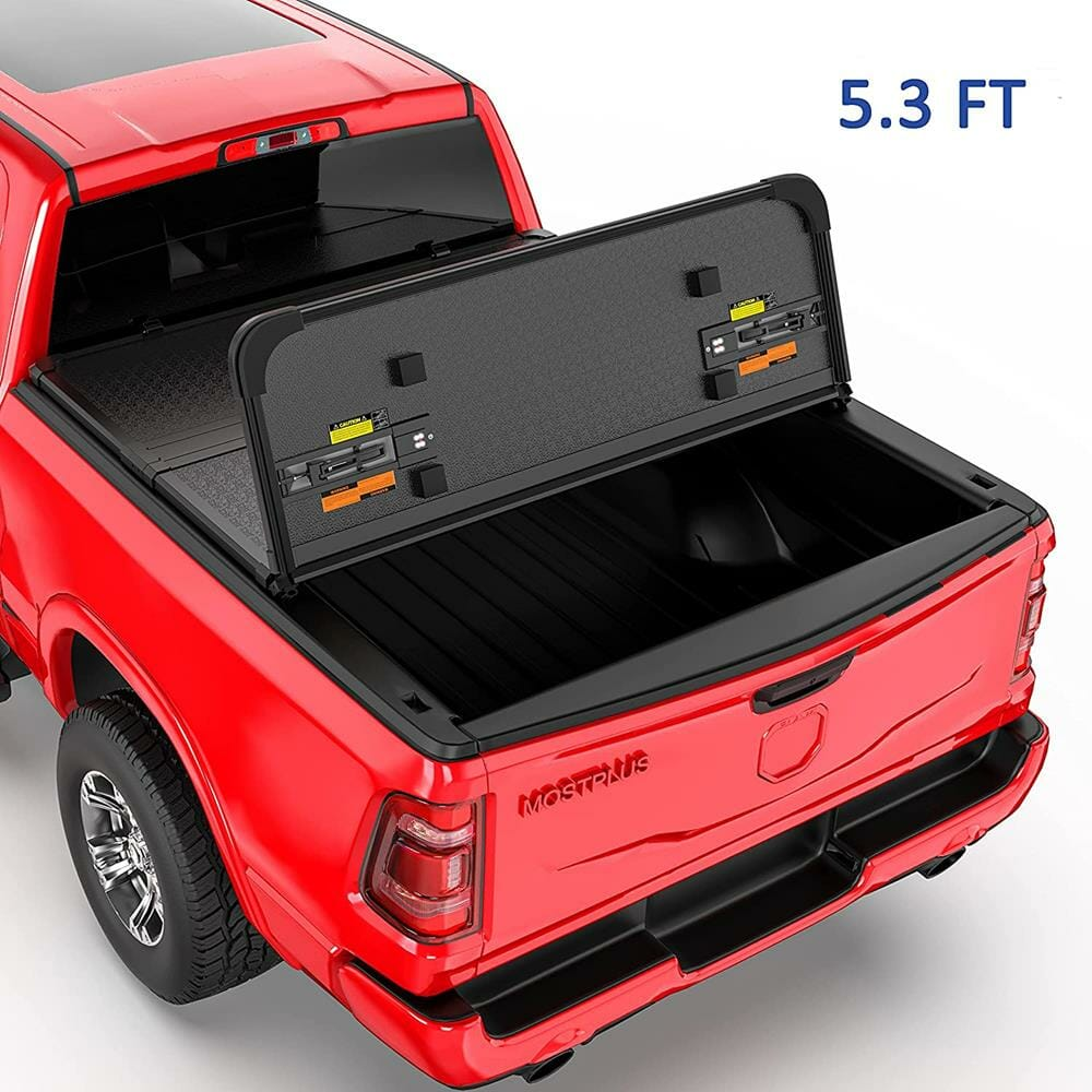 MOSTPLUS Tri-Fold Hard Truck Bed Tonneau Cover On Top Compatible for 2005-2011 Dodge Dakota/2006-2009 Mitsubishi Raider 3 Fold Solid 5.3 FT
